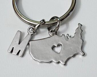USA MAP Keychain Monogram keychain, Personalized keychain  /R1