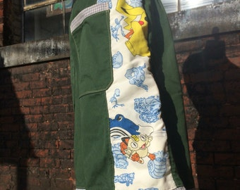 mens patchwork pants CUSTOM Dude Shorts olive green pokemon hippie patchwork six pocket 30 32 34 36 38 40