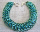 Sea Serpent Bracelet Chain Maille Turquoise and Green Anodized Aluminum Jewelry