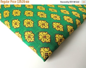 ON SALE SALE Green yellow funny flower on green silk India silk brocade fabric nr 146 Remnant