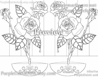 Roses Adult Coloring Page Printable Colour Digital Color Sheet Rose Buds Bud Cluster Flowers Line Drawing