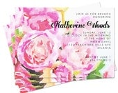 Watercolor Peony Shower Invitation - Digital or Print