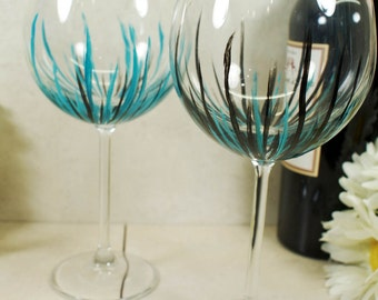 Hand Painted Wine Glasses, Large Wine Glasses, Birthday Wine Gift, Wine Wedding Gift, Handpainted Wine Glasses, Wine Glass Set