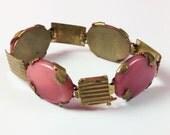 Pink Art Deco Bracelet, Satin Glass, 1930s Vintage Jewelry, Gift for Her VALENTINE SALE