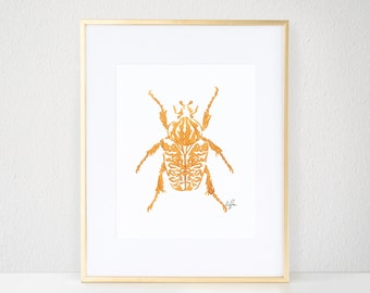 Beetle Print, Gold Bug Illustration - Inkblot Fashion Wall Art Watercolor Painting, Goliath Beetle