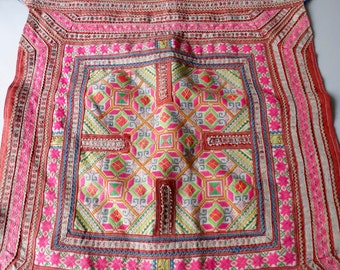 Vintage Hmong baby carrier , Handmade tapestry textiles, hill tribal fabrics, Hmong baby carrier Fabric,