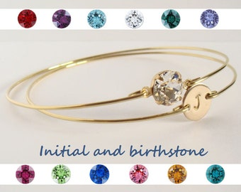 Initial and birthstone bangles set - Initial bracelet - Birthstone bracelet - Personalized jewelry - Bridesmaids gift - Custom initial