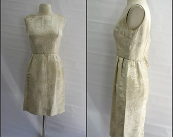 1950s, handmade gold wiggle dress