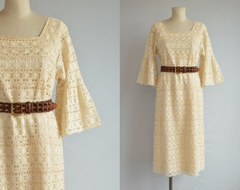 Vintage 60s Mexican Lace Dress / 60s Cream Cotton Lace Dress Bell Sleeves / Made in Mexico Wedding Dress