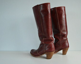Vintage 70s Leather Boots / 1970s Dex Cordovan Burgundy Knee High Western Riding Boots Size 8 N / Made in USA