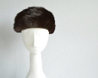 Vintage 60s Mink Fur Hat / 1960s Real Brown Mink Fur Pill Box Hat