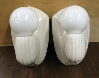 0755 Pair White Porcelain Bathroom Kitchen Wall Sconces Rewired Restored w/ Bulbs Three Pair Available