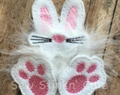 Maching Embroidered Fluffy Easter Bunny Hair Bow