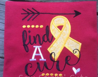 Emberoidered/Appliqued Girl FIND A CURE Shirt