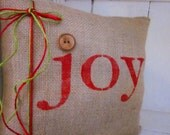 50% OFF CLEARANCE SALE, Christmas pillow,decorative pillows, burlap christmas, farmhouse style, rustic christmas, joy, red pillows