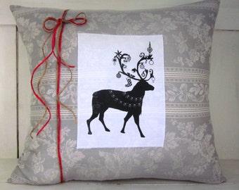 Christmas pillow, holiday decor, reindeer, christmas, decorative pillows, farmhouse style,grey pillows, reindeer pillows,