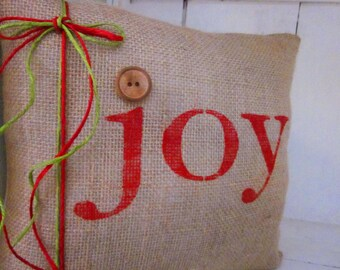 Christmas pillow,decorative pillows, burlap christmas, farmhouse style, rustic christmas, joy, red pillows