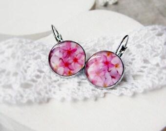 Romantic pink earrings - pink flowers earrings