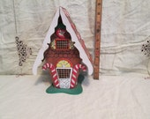Mid-Century Retro 60s 70s Christmas Handpainted Wooden Gingerbread House