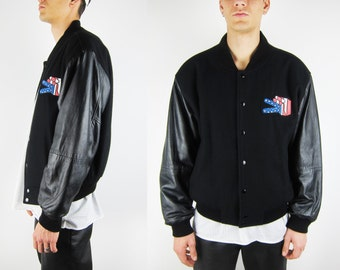 Wool + Leather + Rubber Patch + Vtg College Jacket