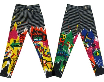 GIANNI VERSACE Iconic Graffiti Print Jeans