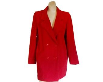 Red Wool Coat Women Wool Coat Wool Winter Coat Women Winter Coat Ladies Winter Coat Double Breasted Coat Women Outerwear