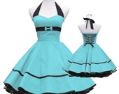 50's vintage dress full skirt light turquoise black sweetheart bow design lace back  custom made Retro