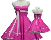 50's vintage dress full skirt pink white bow wedding custom tailor made