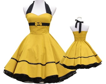 50's vintage dress full skirt uni yellow dress rare Tailor Made after your measurements