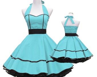 50's vintage dress full skirt black light turquoise sweetheart design custom made Retro