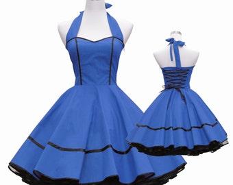 50's vintage dress full skirt black kobalt blue sweetheart design lace back custom made Retro