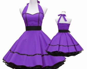 50's vintage dress full skirt black purple sweetheart design custom made Retro
