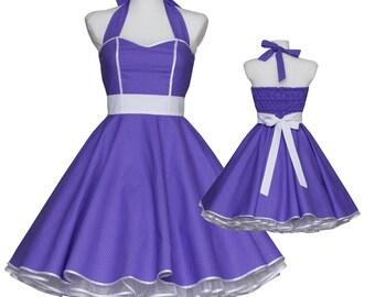 50's vintage dress sweetheart design purple baby polka dots Tailor Made custom