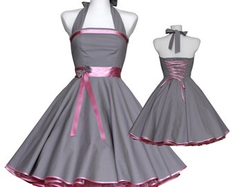 50's vintage dress classic design grey with pink embellishments Tailor Made custom