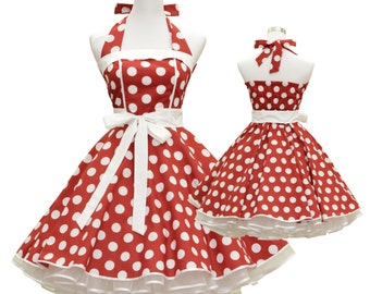 50's vintage dress full skirt red white polka dots classic Tailor Made after your measurements #0030