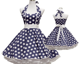50's vintage dress full skirt navy blue white polka dots Sweetheart Tailor Made after your measurements