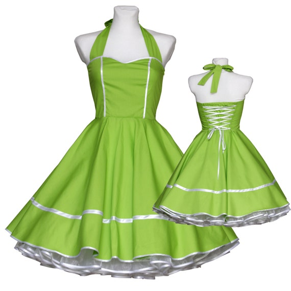 50's vintage dress full skirt apple green white sweetheart Tailor Made after your measurements