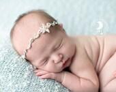 Mermaid Inspired Beach - Starfish Rhinestone Halo Tie Back Headband - Beautiful Newborn Photo Prop