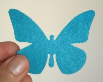 15 light violet , dark violet, light blue die cut felt butterflies.