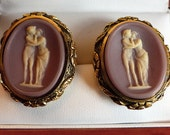 Lovely Rare Vintage Dante Museum Masterpiece Cufflinks Violet Cupid & Psyche Lovers