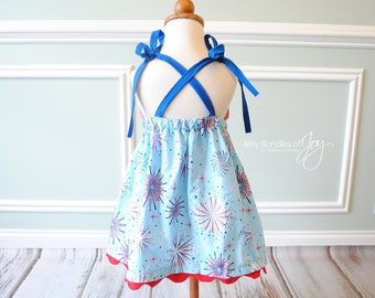 "Fourth of July Dress - Patriotic Dress - Memorial Day Dress - Fireworks Dress - Fourth of July Outfit - ""Red, White, & Boom"" Dress"