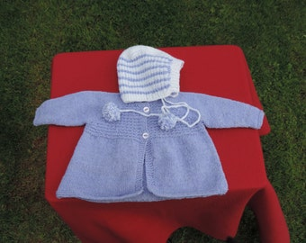 HAND KNITTED Cardigan and Bonnet Set, Deep Lilac, Blue - (Ready to Ship).  New Item