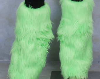 Fluorescent Lime Luxury Fur Legwarmers - for raves, cosplay, fur outfits, costumes