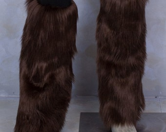 Brown Luxury Fur Legwarmers - for raves, cosplay, fur outfits, costumes