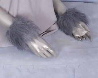 Grey Luxury Furry Wrist Poof Cuffs - Animal Costume, Rave, Goth, Cosplay