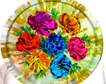 Vintage tin tray bright flowers 70s era England Elite Trays