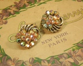 Vintage Clip On Earrings Coro Aurora Borealis Art Deco Style