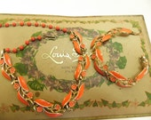 Orange Choker Necklace Bracelet Set Lisner Vintage 1950s