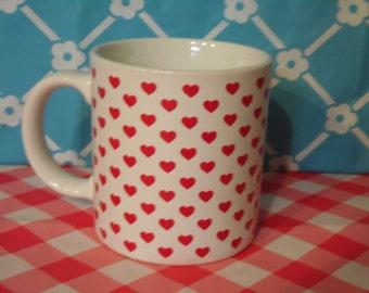 Hearts Coffee Mug 8 Oz Made In Japan Vintage 1980s