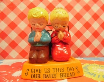 Vintage Ceramic Salt Pepper Shakers Children Meal Prayer 3 Piece Set Give Us This Day Our Daily Bread Made in Japan 1970s